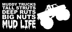 Mud Life Big Truck Funny Quote Window Decal Sticker  #mudLife #mudding #truck #bigTrucks #deepRuts #4x4 #4wheel Muddy Trucks, Big Trucks, Just Do It, Have Fun, Window Decals, Funny Signs, The Struts, Country Girls, Are You Happy