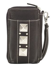 Take a look at this Dark Chocolate Pyramid Stud Cell Phone Wallet by Bandana by American West on #zulily today!
