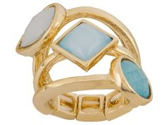 No need to worry about what rings go with what...with this gorgeous stacked ring, all the work is done for you! - Katy Richards (Tm) Simulant Turquoise Gold Tone Stacked Stretch Ring