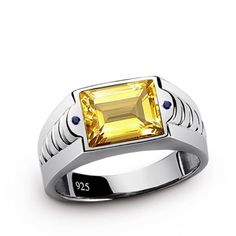 2.50ctw YELLOW CITRINE and Blue SAPPHIRES in 925 Sterling Silver Men's Ring #giftsforboyfriend #menswear #menstyle #fashion #etsy #gifts #jewelry #handmade #giftsforhim #mensring #vintage #sterlingring #mensjewelry #mensfashion # jewelryonetsy #shopping #sale #meteorite # onlineshopping # menstylefashion # mensringsonline # bestmensgifts # handmadering # mensaccessories