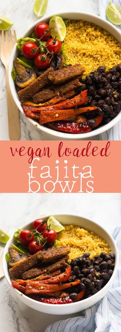 These Vegan Fajita Bowls are loaded with all your favourite fajita toppings, protein-filled and done in just 30 minutes! via http://jessicainthekitchen.com