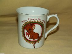 MOUSE MUG OPEN DECEMBER 25TH CHRISTMAS GIFTS GEORGE GOOD CUP JAPAN VINTAGE GOLD