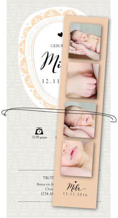 Geboortekaartje met fotostrip los label