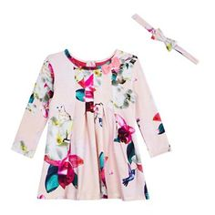 d0d879be1dde Baker by Ted Baker Baby girls  light pink floral print dress and headband  set