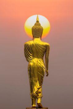 Buddha statue at sunset, Province Nan, Thailand by keangs Seksan on Gautama Buddha, Amitabha Buddha, Buddha Buddhism, Buddha Kunst, Buddha Art, Kunst Online, Thai Art, Zen Meditation, Deities