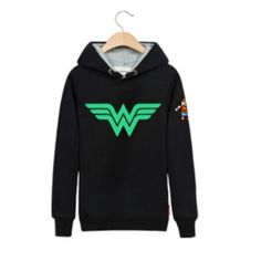 Wonder Woman black hoodie for youth theme Justice League luminous sweatshirt plus size design