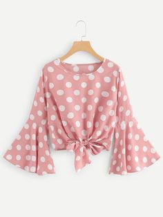 SHEIN offers Fluted Sleeve Polka Dot Knot Front Top & more to fit your fashionable needs. Girls Fashion Clothes, Teen Fashion Outfits, Look Fashion, Hijab Fashion, Girl Fashion, Fashion Dresses, Clothes For Women, Blouse Styles, Blouse Designs