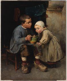 Helene Schjerfbeck (Finnish, 1862 - A Boy Feeding his Little Sister (via Finnish National Gallery) Helene Schjerfbeck, James Mcneill Whistler, Helsinki, Funeral, Minerva Goddess, Best Portraits, Little Sisters, Art Day, Insta Art