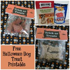 This year treat the four-legged friends with these free halloween printable for Halloween Pet Treat bags. #TrickorTreatEm #shop