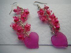 Earrings Long shocking pink flowers £4.50