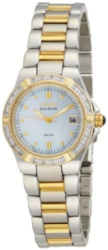 Citizen Women's EW0894-57D Eco-Drive Riva Diamond Accented Watch Citizen. $309.99. Water-resistant to 99 feet (30 M). Light powered eco-drive Japanese-quartz movement; charges in natural sunlight or indoor light. Durable, hardened mineral crystal. Citizen Eco-Drive diamond watches feature conflict-free and single cut diamonds. Save 27% Off!
