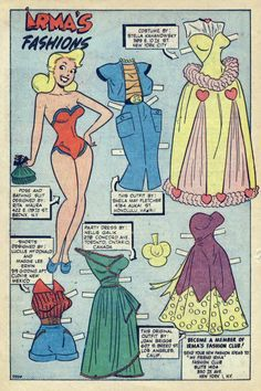 Fan-designed fashions for the paper doll feature Irma& Fashions published in My Friend Irma Art uncredited but is probably Dan DeCarlo. Vintage Cartoon, Vintage Comics, Comic Book Paper, Comic Books, My Friend Irma, Millie The Model, Paper Doll Costume, Dan Decarlo, Newspaper Paper