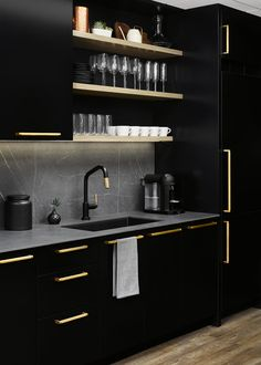 The faucet is a touch-control fixture from our favorite, Brizo and ties together the knurled brass and matte black. We completed the kitchen with a black sink to keep things simple and clean, especially because it's such a small space. Kitchen Room Design, Home Room Design, Kitchen Cabinet Design, Modern Kitchen Design, Home Decor Kitchen, Interior Design Kitchen, Kitchen Paint, Kitchen Furniture, House Design