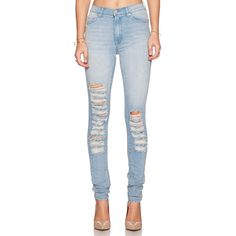 Cheap Monday Second Skin Skinny Denim ($79) ❤ liked on Polyvore featuring jeans, bottoms, destroyed denim skinny jeans, distressed jeans, blue jeans, destructed skinny jeans and ripped skinny jeans