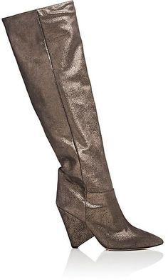 Isabel Marant Women's Metallic Suede Knee Boots