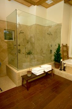 Shower must be built for two. This one from the 2005 HGTV Dream Home looks about right