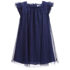 Pretty, short sleeved, navy blue tulle cotton dress by BOSS. The dress has a double layer of tulle which has a cute dotted pattern and a soft poplin cotton lining underneath. There are elasticated shoulder details, embellished with sequins and ruffled shoulders. At the back, there is a hidden zip fastener, to make changing easier.<br /> <ul> <li>100% polyester (tulle feel)</li> <li>Lining: 100% cotton (soft poplin cotton feel)</li> <li>Machine wash (30*C)</li> <li>True to size fitt...