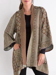 Mieko Mintz Kantha A-Line Jacket Batik Fashion, Hijab Fashion, Fashion Outfits, Womens Fashion, Kimono Fabric, Batik Dress, Outer Batik, Look Fashion, Fashion Design