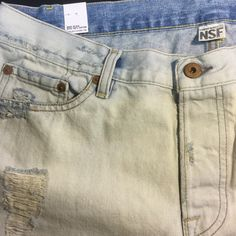 New NSF + FREE PEOPLE Destroyed Boyfriend Jeans New perfectly distressed, 100% cotton boyfriend jeans by NSF as presented by, and purchased from, FREE PEOPLE.  Ripped, ruffed and stained with a slightly oversized, slouchy fit.  Wear cuffed with sneaks or boots, or add some irony with a blouse and heels.  🇺🇸 Made in the USA.  4.5/5 stars!  Color is Rain (very pale blue).  Straight Slouch, Size 30. Free People Jeans Boyfriend