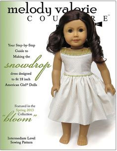 Melody Valerie Couture Snowdrop Dress Doll Clothes Pattern for 18 inch American Girl Dolls - PDF on Etsy, $9.89 CAD