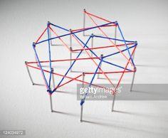 Stock Photo : Red and blue lines connect at data points