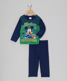 Take a look at this Navy & Green 'Touchdown' Mickey Pajama Set - Infant by Disney on #zulily today!