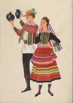 Folk costume from Lublin region, Poland. Folk Costume, Costumes, Painted Wardrobe, Polish Folk Art, Vintage Postcards, Traditional Outfits, Poland, Illustration Art, Arts And Crafts