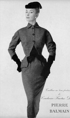 1954 Geneviève in fabulous suit, jacket has cut-away front, by Pierre Balmain, photo by Tom Kublin
