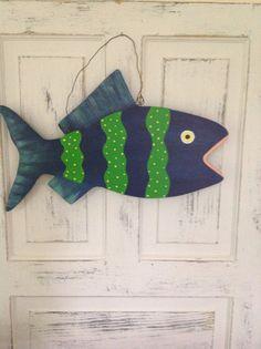 Striped blue chunky folk art fish