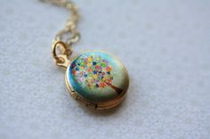 Small Flower Tree Locket Necklace Blue Colorful by FreshyFig, $28.00