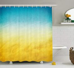 Ambesonne Yellow and Blue Shower Curtain, Surf Waves Ocean Beach Exotic Dreamy Gradient Toned Blurry Landscape, Cloth Fabric Bathroom Decor Set with Hooks, Long, Blue Yellow Ocean Shower Curtain, Nautical Shower Curtains, Bathroom Shower Curtains, Beach Bathrooms, Ocean Bathroom, Downstairs Bathroom, Bathroom Decor Sets, Bathroom Interior Design, House Styles