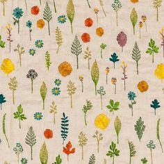 Coral & Tusk - Embroidered Fabric Yardage - Garden Pattern