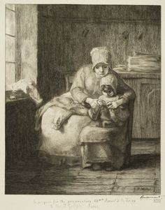 """""""The Knitting Lesson"""" by Jean-Francois Millet (French, 1814-1875)"""