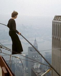 Phillipe Petit, french high-wire artist who did a high-wire walk between the Twin Towers of the World Trade Centre in New York in 1974
