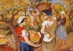 Szőnyi István (1894-1960) Zebegényi gyümölcskertben (96 x 66 cm) című alkotásának jellemzői - Kieselbach