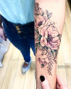 Love the colors and the general aesthetic Tattoos, Flowers, Florals, Floral, Tat, Tattoo, Tattooed Guys, Flower, Blossoms