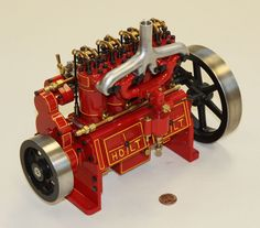 "Holt 75 Caterpillar Engine, Model by Reinhold Krieger, Germany, 2001. L=12"", W=7"", H=10"", Weight = 15 lb."