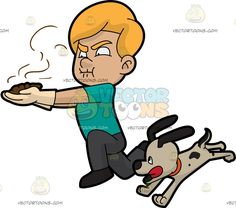 A Man Rushing To Throw Away A Pile Of Dog Poop:  A man with blonde hair wearing off white gloves teal shirt gray pants and shoes bites his lips to hold his breath as he runs fast to throw away the brown stink poo of his dog with light beige coat and dark gray spots and ears wearing an orange collar  The post A Man Rushing To Throw Away A Pile Of Dog Poop appeared first on VectorToons.com.  #men #male #man #clipart #cartoon #vectortoons #illustration