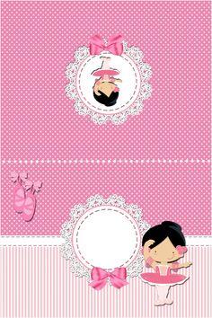 "cartao de mesa  Kit de Personalizados Tema ""Bailarina Rosa"" para Imprimir - Convites Digitais Simples"
