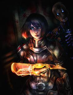 Be Careful of the Darkness Mass Effect FemShep fan art by Evillilmonk