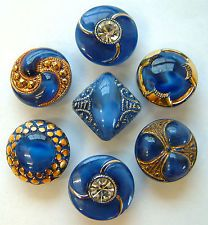 7 Vintage Blue Moonglow Glass Buttons, Silver & Gold Trims and Pastes