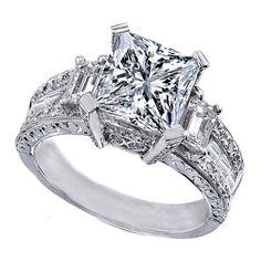 Princess Cut Diamond Vintage style Engagement Ring Setting with Emerald Cut side Stones
