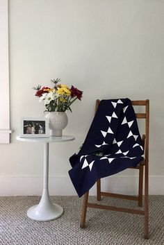 Navy-and-White Amish Hourglass Baby Quilt by Salty Oat