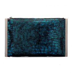 Yoins Fantastic Blue Snake Effect Clutch Bag with Silver-tone Hardware (36 AUD) ❤ liked on Polyvore featuring bags, handbags, clutches, blue, blue purse, blue handbags, blue clutches and snake handbag