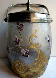 Seau à biscuits Louis XV, verre émaillé LEGRAS, dégagé acide, Semis de violettes