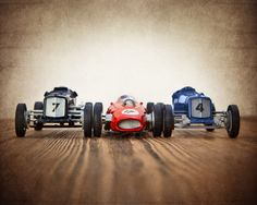 Vintage Race Cars Three Lined Up