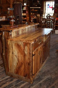 Handmade rustic pecan bar from Texas Hill Country Furniture in lipan, tx