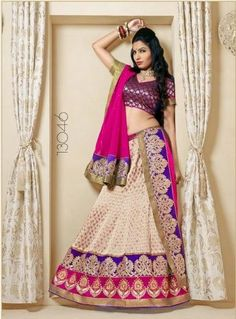 Ceam a& Purple Lehenga; Purple Brocade Blouse With Magenta Dupatta. The Lehenga set has 3 pieces: a semi stitched 8 kali skirt, an unstitched blouse piece, fully finished dupatta. For More Information Visit Here: http://www.couturemasala.com