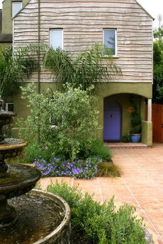 love the periwinkle blue front door (my favorite color) Santa Cruz Residence - mediterranean - exterior - san francisco - Kathleen Shaeffer Design, Exterior Spaces Tuscan Garden, Italian Garden, Spanish Garden, Exterior Paint, Exterior Design, Door Design, Purple Front Doors, Purple Door, Green Painted Walls