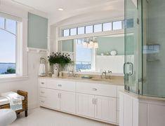 House of Turquoise: Benjamin Moore - Palladian Blue Beach House Bathroom, Beach House Decor, Master Bathroom, White Bathroom, Neutral Bathroom, Bathroom Wall, House Of Turquoise, Coastal Bathrooms, Beach Bathrooms